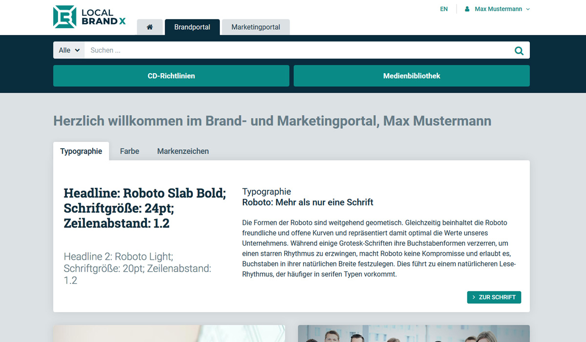 Brand portal of Local Brand X GmbH