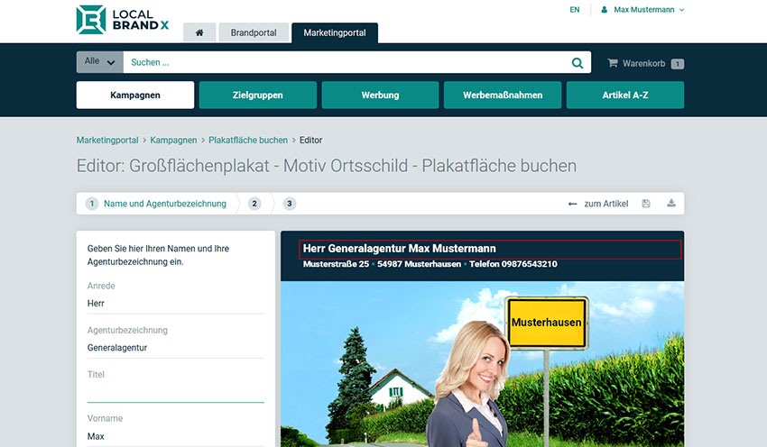 Online Editor Bearbeitungsassistent Marketingportal Outdoor