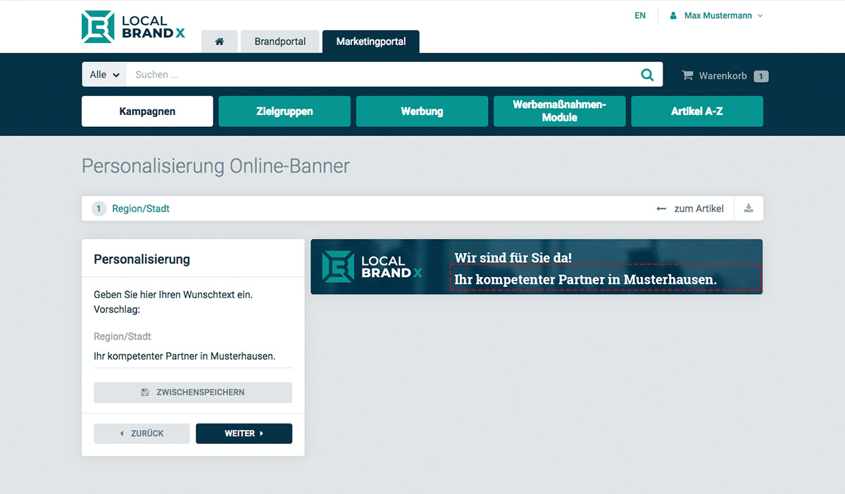 Create an online banner through the Marketing Portal