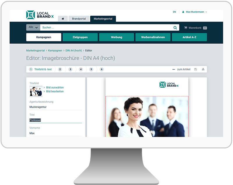 Online Editor Bearbeitungsassistent im Marketingportal