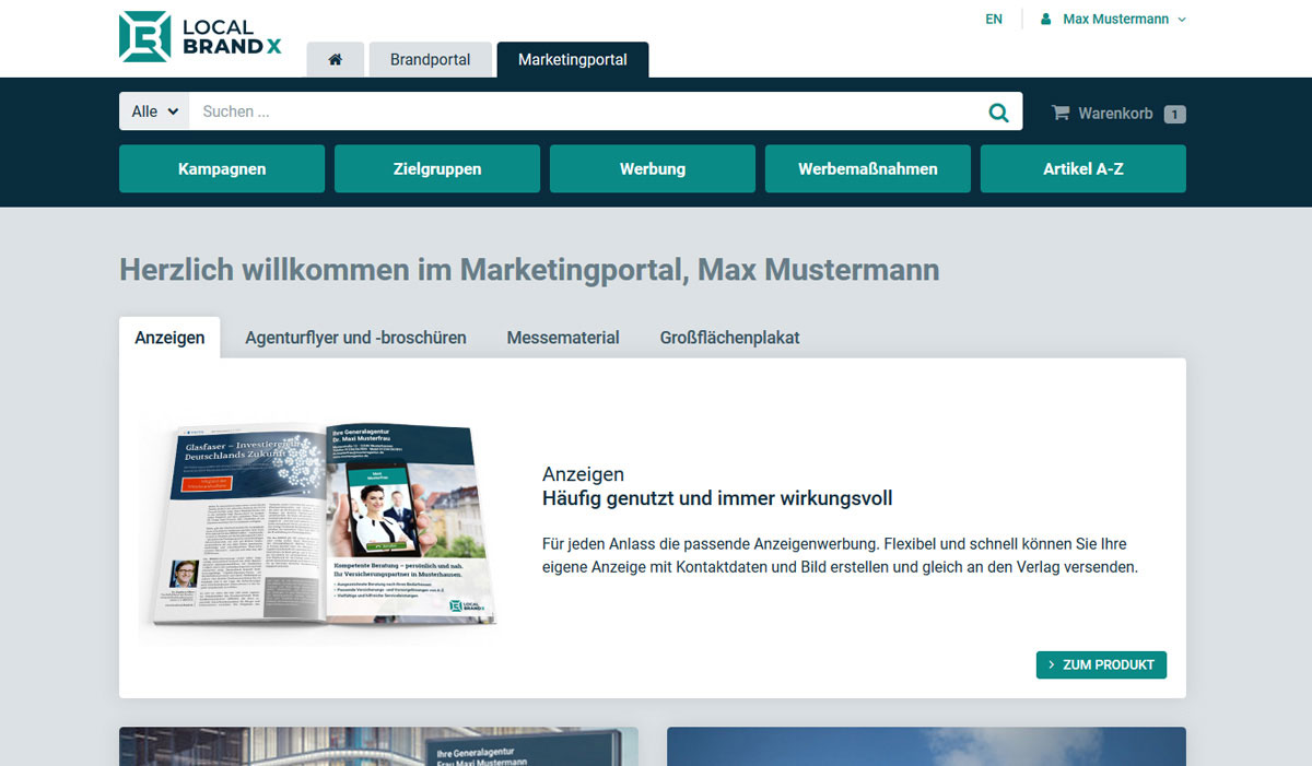 Local Brand X Leistungen mit Web-to-Print Syste