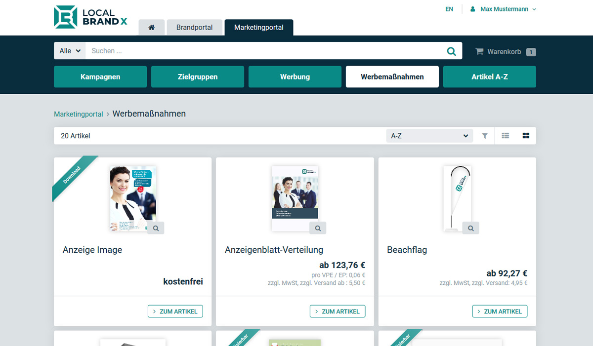E-Commerce Funktionen im Web-to-Print System